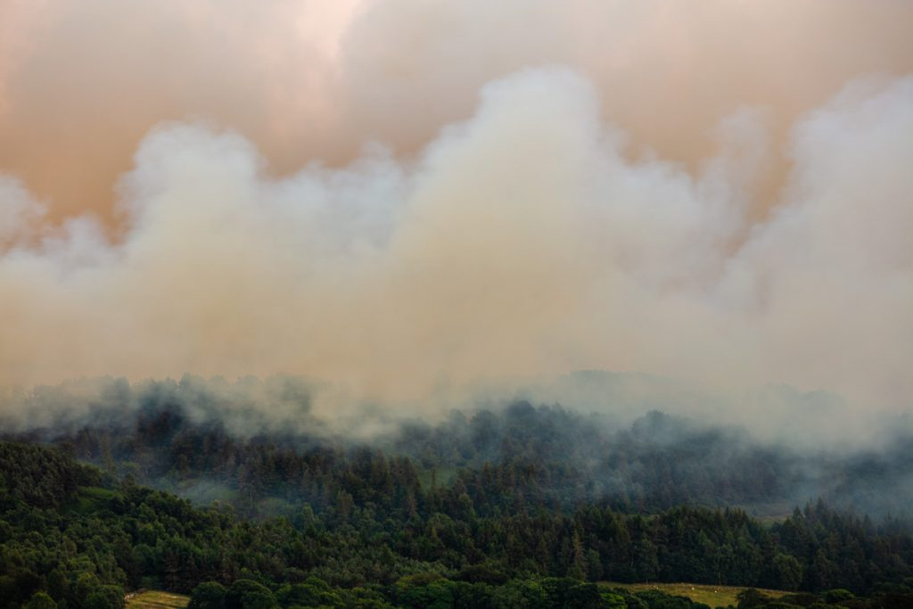 Rivington Terraced Gardens, near Bolton in Greater Manchester overcome by smoke from a nearby moorland grassfire.